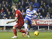 Reading striker, Ola John comes on to make an immediate impression on the game during the Sky Bet Championship match between Reading and Blackburn Rovers at the Madejski Stadium, Reading, England on 20 December 2015. Photo by Andy Walter.