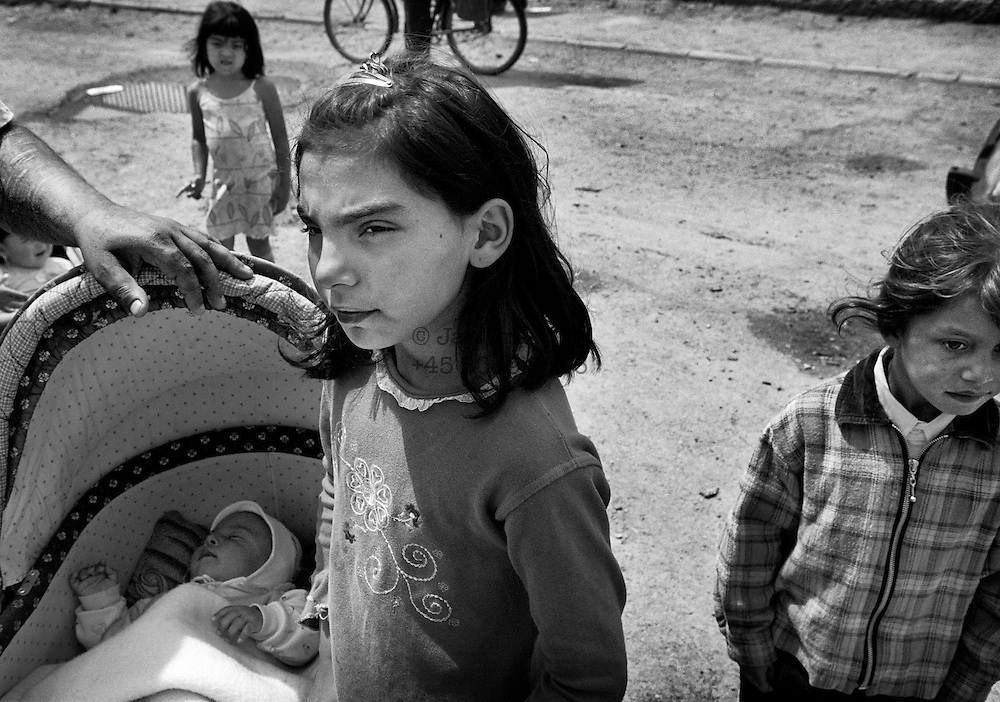 Roma children are not offered schooling, and instead look after their younger brothers and sisters. There are also serious incest problems in many families. June 2004.