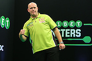Michael van Gerwen celebrates beating Mensur Suljovic to reach the semi final during the PDC Unibet Masters 2017 at Arena MK, Milton Keynes, United Kingdom on 29 January 2017. Photo by Shane Healey.