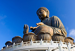 Famous Big Buddha statue at Po Lin Monastery in Hong Kong