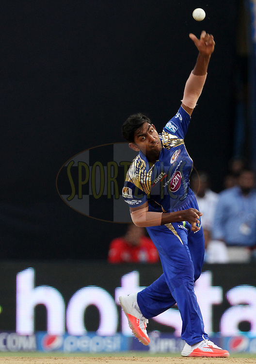 Mumbai Indians player J Suchith bowls during match 23 of the Pepsi IPL 2015 (Indian Premier League) between The Mumbai Indians and The Sunrisers Hyderabad held at the Wankhede Stadium in Mumbai India on the 25th April 2015.<br /> <br /> Photo by:  Vipin Pawar / SPORTZPICS / IPL