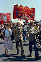 Sheffield and Rotherham Communist Party banner at the start of a march against anti trade union legislation. Sheffield 1980.