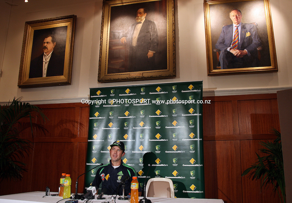 Australian cricket captain Ricky Ponting at a press conference in the Don Bradman room ahead of the Chappell Hadlee Trophy 3 match series that starts tomorrow. Adelaide Oval, Adelaide, Australia. Thursday 13 December 2007. Photo: Andrew Cornaga/PHOTOSPORT