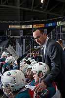 KELOWNA, CANADA - MARCH 3: Kelowna Rockets' assistant coach Kris Mallette stands on the bench against the Portland Winterhawks  on March 3, 2019 at Prospera Place in Kelowna, British Columbia, Canada.  (Photo by Marissa Baecker/Shoot the Breeze)