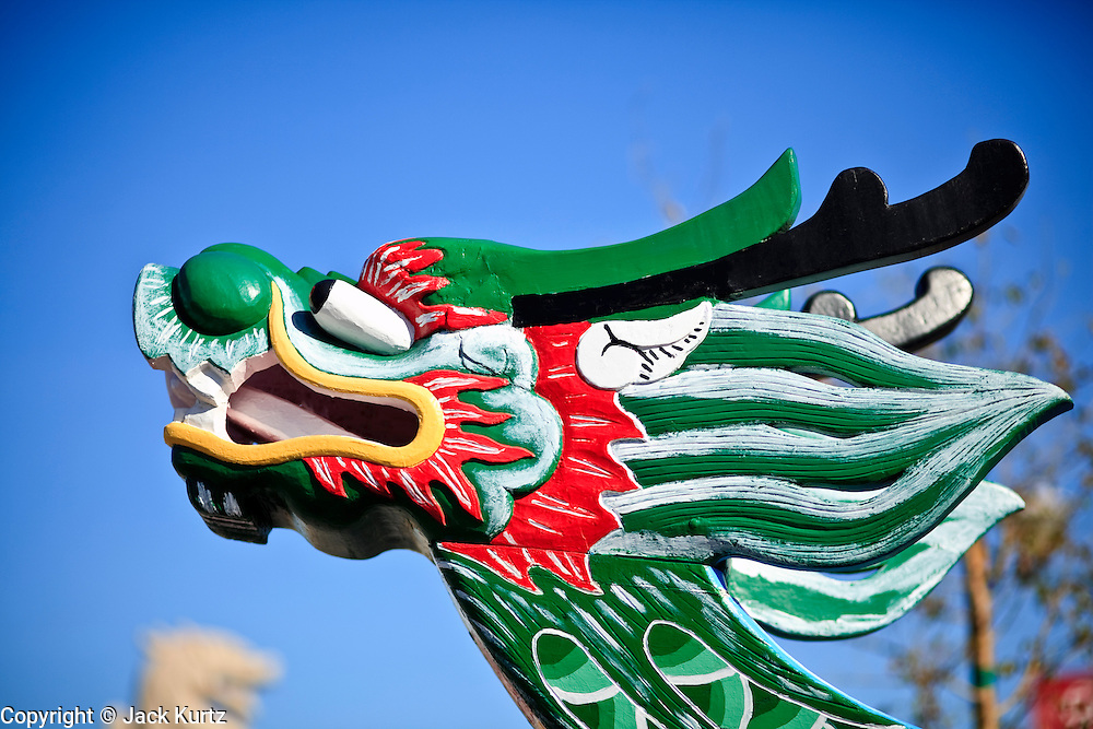 "14 FEBRUARY 2010 - PHOENIX, AZ: The bow of a Dragon Boat from Taipei, Taiwan, on display at the Chinese New Year Celebration in Phoenix, AZ. This marks the Chinese ""Year of the Tiger."" The Chinese New Year Celebration at the COFCO Chinese Cultural Center in Phoenix attracted thousands of people. The celebration featured traditional Chinese entertainment and food.  PHOTO BY JACK KURTZ"