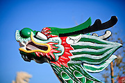 """14 FEBRUARY 2010 - PHOENIX, AZ: The bow of a Dragon Boat from Taipei, Taiwan, on display at the Chinese New Year Celebration in Phoenix, AZ. This marks the Chinese """"Year of the Tiger."""" The Chinese New Year Celebration at the COFCO Chinese Cultural Center in Phoenix attracted thousands of people. The celebration featured traditional Chinese entertainment and food.  PHOTO BY JACK KURTZ"""