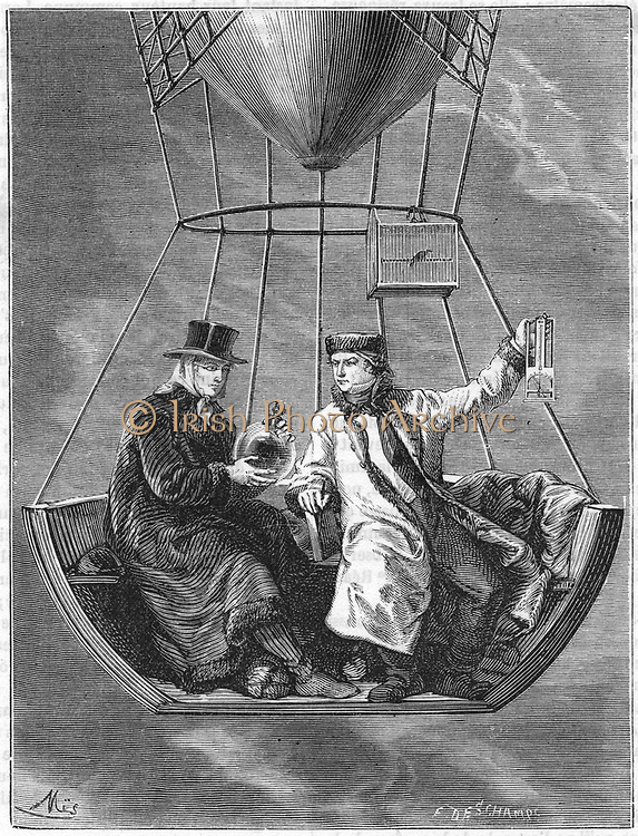 Jean Baptiste Biot (1774-1864) and Joseph Louis Gay-Lussac (1778-1850), left, making measurements at a height of 4,000 metres during their balloon ascent of 20 August 1804. This was the first balloon ascent made specifically for scientific purposes. From Louis Figuier 'Les Merveilles de la Science', Paris 1870