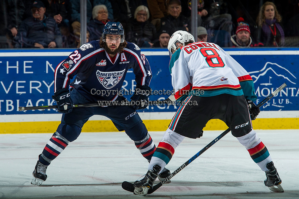 KELOWNA, CANADA - JANUARY 3: Nolan Yaremko #22 of the Tri-City Americans faces off against Jack Cowell #8 of the Kelowna Rockets on January 3, 2017 at Prospera Place in Kelowna, British Columbia, Canada.  (Photo by Marissa Baecker/Shoot the Breeze)  *** Local Caption ***