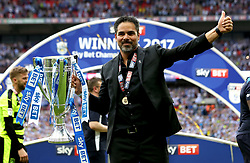 Free to use courtesy of Sky Bet - Huddersfield Town manager David Wagner celebrates winning the Sky Bet Championship Playoff Final and promotion to the Premier League - Mandatory by-line: Robbie Stephenson/JMP - 29/05/2017 - FOOTBALL - Wembley Stadium - London, England - Huddersfield Town v Reading - Sky Bet Championship Play-off Final
