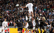 © Andrew Fosker / Seconds Left Images 2011 - England's Louis Deacon makes the lineout  ball available for England's Ben Youngs (L)  - England v Scotland - Rugby World Cup 2011 - Eden Park - Auckland - New Zealand - 01/10/2011 -  All rights reserved..