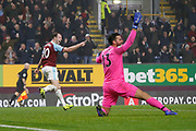 Goal celebration by Burnley's Ashley Barnes following the goal by Burnley's Jack Cork  during the Premier League match between Burnley and Liverpool at Turf Moor, Burnley, England on 5 December 2018.