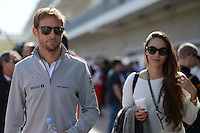 (L to R): Jenson Button (GBR) McLaren with his girlfriend Jessica Michibata (JPN).<br /> United States Grand Prix, Sunday 2nd November 2014. Circuit of the Americas, Austin, Texas, USA.