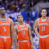 24 March 2014: Milwaukee Bucks forward Ekpe Udoh (5), Milwaukee Bucks guard Brandon Knight (11) and Milwaukee Bucks center John Henson (31) are seen during the Los Angeles Clippers 106-98 victory over the Milwaukee Bucks at the Staples Center, Los Angeles, California, USA.