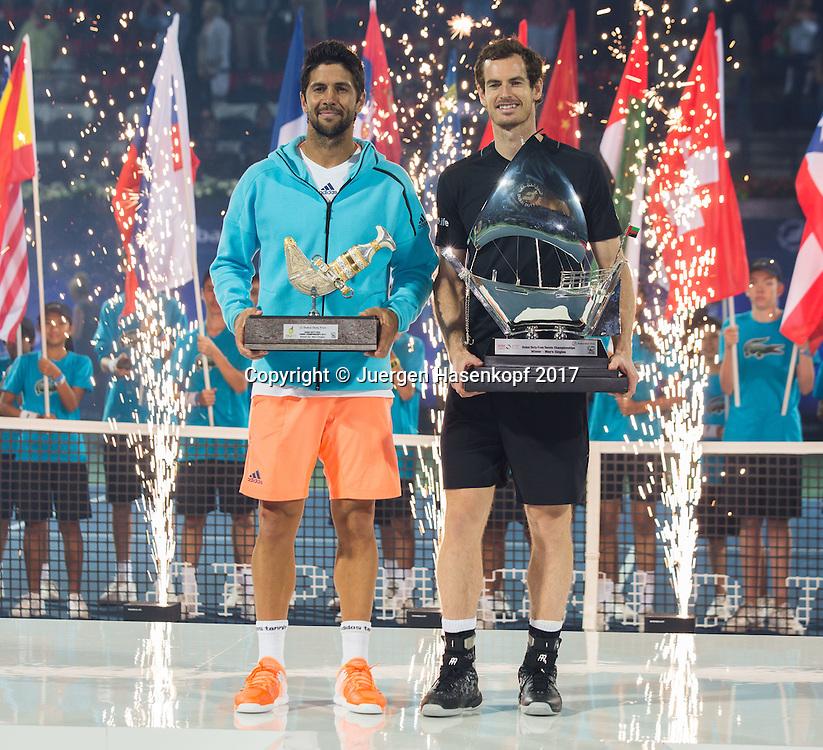 Sieger ANDY MURRAY (GBR) und Finalist FERNANDO VERDASCO (ESP), Herren Finale, Siegerehrung, Praesentation<br /> <br /> Tennis - Dubai Duty Free Tennis Championships - ATP -  Dubai Duty Free Tennis Stadium - Dubai -  - United Arab Emirates  - 4 March 2017. <br /> &copy; Juergen Hasenkopf