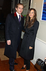 Singer BEULAH and JACOBI ANSTRUTHER-GOUGH-CALTHORPE at a party to launch a new stor for tailors Pogson & Davis in Davies Street, London W1 on 15th December 2005.<br />