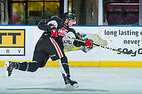 KELOWNA, CANADA - OCTOBER 20: Clay Hanus #58 of the Portland Winterhawks takes a shot on net during morning ice at the Kelowna Rockets on October 20, 2017 at Prospera Place in Kelowna, British Columbia, Canada.  (Photo by Marissa Baecker/Shoot the Breeze)  *** Local Caption ***