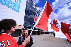 Fans of Canada before an ice-hockey game Canada vs Russia at finals of IIHF WC 2008 in Quebec City,  on May 18, 2008, in Colisee Pepsi, Quebec City, Quebec, Canada.  (Photo by Vid Ponikvar / Sportal Images)