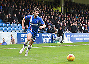Gillingham defender Aaron Morris on the attack during the Sky Bet League 1 match between Gillingham and Peterborough United at the MEMS Priestfield Stadium, Gillingham, England on 23 January 2016. Photo by David Charbit.