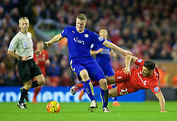 LIVERPOOL, ENGLAND - Boxing Day, Saturday, December 26, 2015: Liverpool's Emre Can in action against Leicester City's Robert Huth during the Premier League match at Anfield. (Pic by David Rawcliffe/Propaganda)