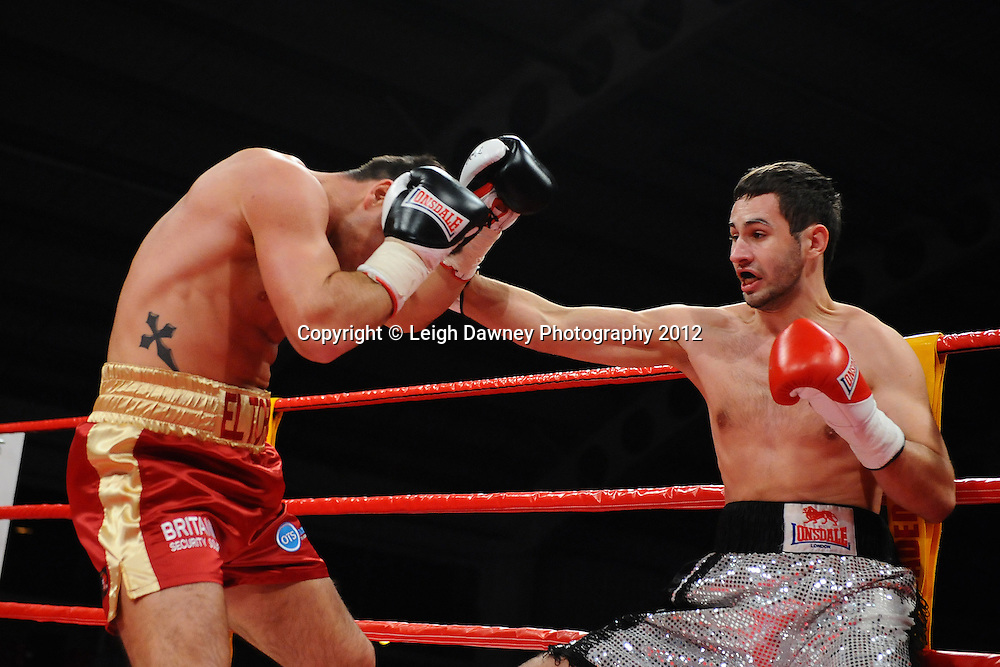 Mike Stafford defeats Rihards Bigis in a 6x3 Cruiserweight contest on the 30th November 2012 at Aintree Equestrian Centre, Aintree, Liverpool. Frank Maloney Promotions. Pictures by Leigh Dawney. ©leighdawneyphotography 2012.