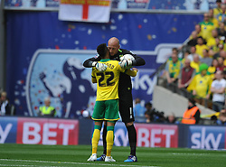 Norwich Keeper John Ruddy and Nathan Redmond, prepare for kick off, Middlesbrough v Norwich, Sky Bet Championship, Play Off Final, Wembley Stadium, Monday  25th May 2015