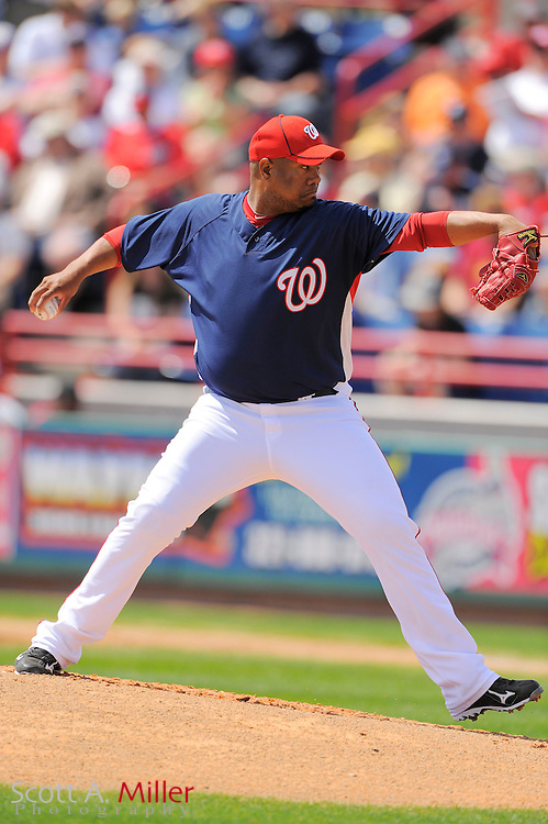 March 14, 2010; Viera, FL, USA; Washington Nationals pitcher Livan Hernandez (61) during the Nationals game against the St. Louis Cardinals at Space Coast Stadium. ©2010 Scott A. Miller