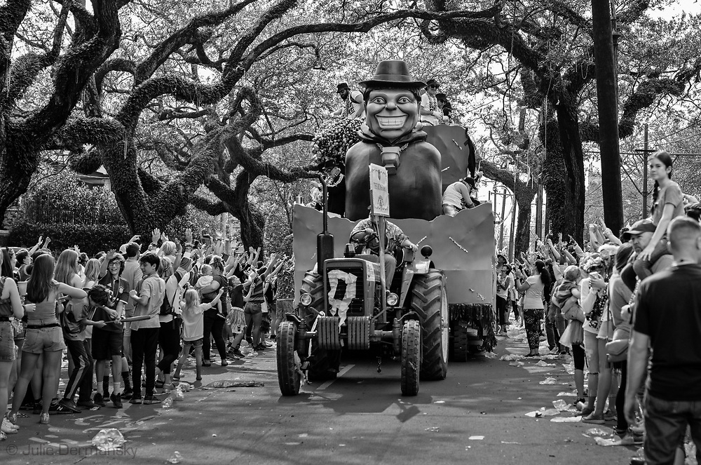 Float on St. Charles Avenue in the Tucks Parade during the 2019 Mardis Gras season.