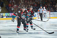 KELOWNA, CANADA - OCTOBER 19: Henrik Nyberg #21 and Mitchell Wheaton #6 of the Kelowna Rockets skate on the ice against the Prince George Cougars on October 19, 2013 at Prospera Place in Kelowna, British Columbia, Canada.   (Photo by Marissa Baecker/Shoot the Breeze)  ***  Local Caption  ***
