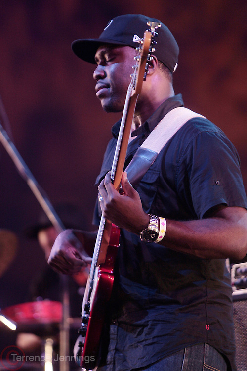 4 August 2010- New York, NY- Derrick Hodge performs at the ' Robert Glasper Experiment with special guest Q-Tip and Bilal' held outdoors in Damrosch Park for The Lincoln Center Out if Doors Series on August 4, 2010 in New York City. Photo Credit: Terrence Jennings