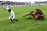 Brain Power and Nico de Boinville fall in The Betway Bowl Steeple Chase  at Aintree, Liverpool, United Kingdom on 12 April 2018. Picture by Craig Galloway.