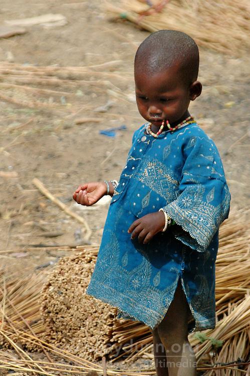 BURKINA FASO, Gorom-Gorom, 2007. A Fulani boy has time on his hands at Gorom-Gorom's Thursday market.