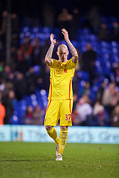 LONDON, ENGLAND - Saturday, February 14, 2015: Liverpool's Martin Skrtel salutes the supporters after the 2-1 victory over Crystal Palace during the FA Cup 5th Round match at Selhurst Park. (Pic by David Rawcliffe/Propaganda)