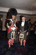 DRUM-MAJOR ALASTER WALKER; PRESIDENT DAMIAN MCDIARMID,4The Royal Caledonian Ball 2015. Grosvenor House. Park Lane, London. 1 May 2015.