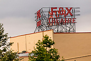The new Fox Fullerton Marquee prepares to light for the first time. Downtown Fullerton.