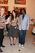 ANNA MARIE PENA; YINKA SHONIBARE, Opening of Love is what you want. Exhibition of work by Tracey Emin. Hayward Gallery. Southbank Centre. London. 16 May 2011. <br /> <br />  , -DO NOT ARCHIVE-© Copyright Photograph by Dafydd Jones. 248 Clapham Rd. London SW9 0PZ. Tel 0207 820 0771. www.dafjones.com.