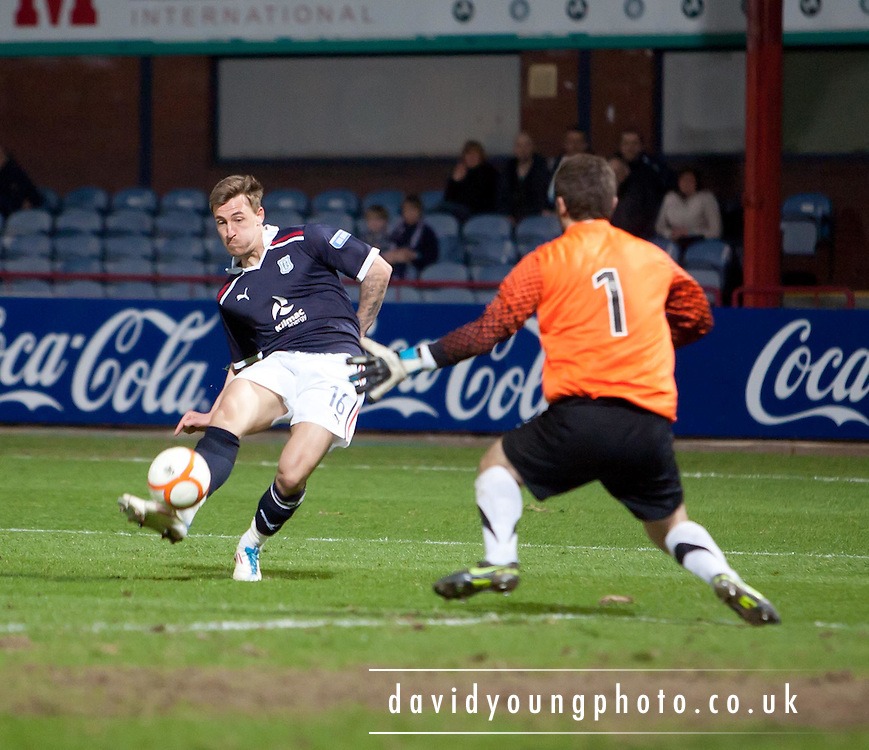 Jake Hyde scores Dundee's third goal - Dundee v Ayr United, Irn Bru Scottish Football League First Division at Dens Park..© David Young - 5 Foundry Place - Monifieth - DD5 4BB - Telephone 07765 252616 - email; davidyoungphoto@gmail.com - web; www.davidyoungphoto.co.uk