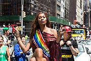 New York, NY - 30 June 2019. The New York City Heritage of Pride March filled Fifth Avenue for hours with participants from the LGBTQ community and it's supporters. Dominique Jackson, of the the march's Grand Marshalls.