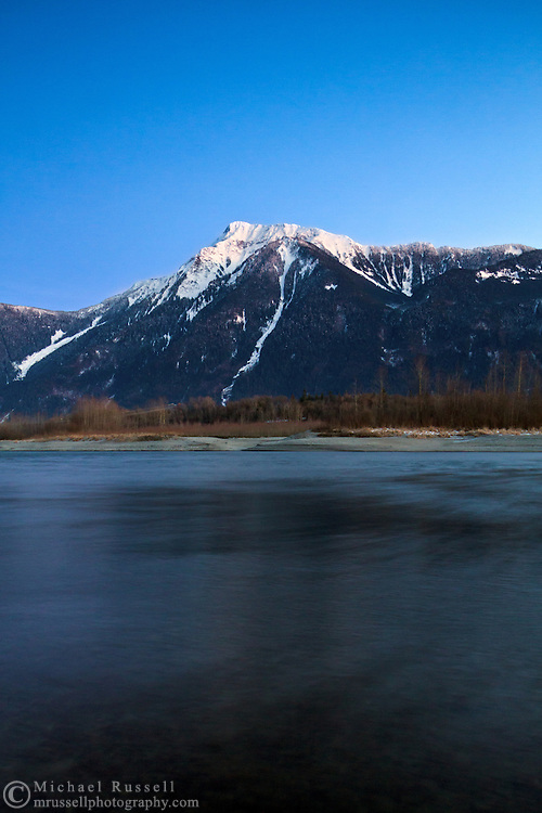 Sunset at the Fraser River below Mount Cheam - from Agassiz, British Columbia, Canada