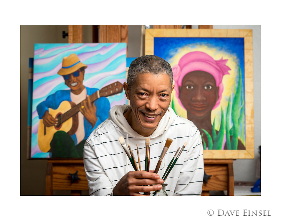 Furr High School graduate and artist Danny Russo poses for a photograph in his studio, January 30, 2015.