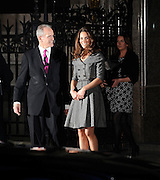 08.FEBRUARY.2012. LONDON<br /> <br /> KATE MIDDLETON - CATHERINE THE DUCHESS OF CAMBRIDGE ATTENDS A PRIVATE VIEWING FOR THE LAST WORK OF THE LATE LUCIEN FREUD WHOSE WORK GOES ON SHOW FOR THE FIRST TIME IN 10 YEARS AT THE NATIONAL PORTRAIT GALLERY, ST MARTIN'S PLACE IN LONDON<br /> <br /> BYLINE: EDBIMAGEARCHIVE.COM<br /> <br /> *THIS IMAGE IS STRICTLY FOR UK NEWSPAPERS AND MAGAZINES ONLY*<br /> *FOR WORLD WIDE SALES AND WEB USE PLEASE CONTACT EDBIMAGEARCHIVE - 0208 954 5968*