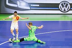 Alex of Spain and Yevgen Ivanyak of Ukraine during futsal quarterfinal match between National teams of Ukraine and Spain at Day 8 of UEFA Futsal EURO 2018, on February 6, 2018 in Arena Stozice, Ljubljana, Slovenia. Photo by Urban Urbanc / Sportida
