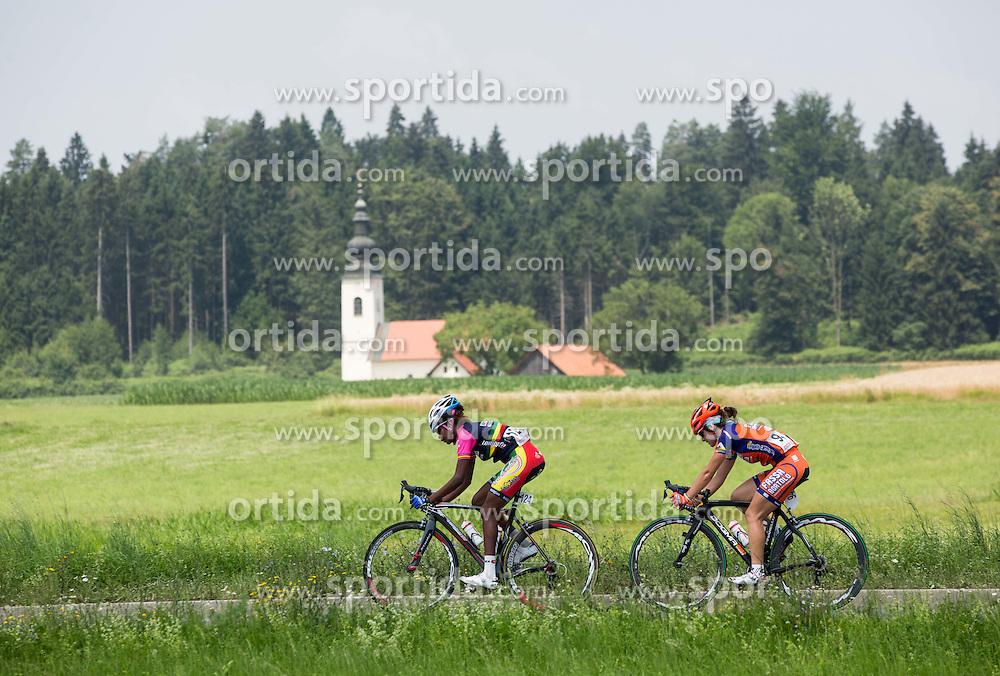 Eyerusalem Kelil (ETH) of S.C. Michela Fanini Rox and Sara Grifi (ITA) of Top Girls Fassa Bortolo during the Stage 1 (102,5 km) from Kamnik to Ljubljana at 26th Giro Rosa 2015 Women cycling race, on July 4, 2015 in Kamnik,  Slovenia. Photo by Vid Ponikvar / Sportida