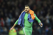 Nottingham Forest goalkeeper Jordan Smith (43) applauds the Forest supporters after winning 4-2 during the The FA Cup 3rd round match between Nottingham Forest and Arsenal at the City Ground, Nottingham, England on 7 January 2018. Photo by Jon Hobley.