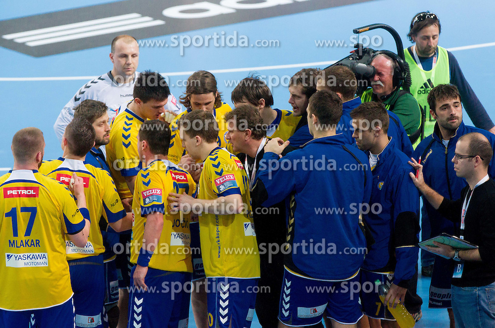 Fredi Radojkovic, head coach of Cimos Koper with players during handball match between RK Cimos Koper and HCM Constanta in 10th Round of season 2011/2012 of EHF Men's Champions League, on February 25, 2012 in Arena Bonifika, Koper, Slovenia. Cimos Koper defeated Constanta 28-24. (Photo By Vid Ponikvar / Sportida.com)