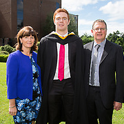 "25.08.2016          <br />  Faculty of Business, Kemmy Business School graduations at the University of Limerick today. <br /> <br /> Attending the conferring was Tipperary Senior Hurler, Jason Forde,Bachelor of Business Studies, Silveriness Co. Tipperary pictured with his parents, Caroline and Donal Forde. Picture: Alan Place.<br /> <br /> <br /> As the University of Limerick commences four days of conferring ceremonies which will see 2568 students graduate, including 50 PhD graduates, UL President, Professor Don Barry highlighted the continued demand for UL graduates by employers; ""Traditionally UL's Graduate Employment figures trend well above the national average. Despite the challenging environment, UL's graduate employment rate for 2015 primary degree-holders is now 14% higher than the HEA's most recently-available national average figure which is 58% for 2014"". The survey of UL's 2015 graduates showed that 92% are either employed or pursuing further study."" Picture: Alan Place"