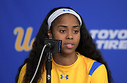 UCLA Bruins guard Jordin Canada (3) at a press conference after an NCAA women's basketball game against the Connecticut Huskies in Los Angeles on Tuesday, Nov. 21, 2017. UConn defeated UCLA 78-60.