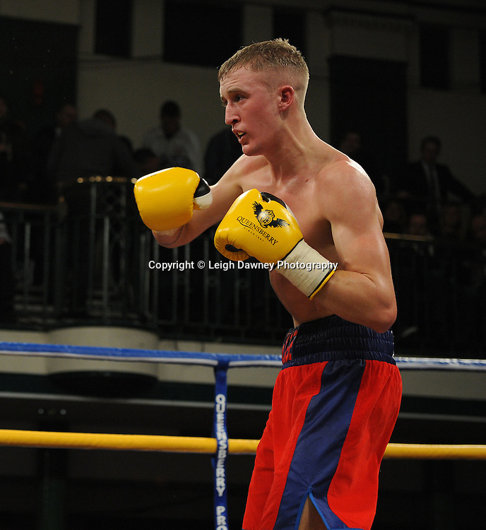 George Jupp defeats Dan Naylor in a Featherweight contest at York Hall, Bethnal Green, London on Friday 13th January 2012. Queensbury Promotions © Leigh Dawney 2012