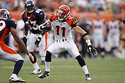 CINCINNATI, OH - AUGUST 15: Jordan Shipley #11 of the Cincinnati Bengals looks for room after catching a pass during the preseason game against the Denver Broncos at Paul Brown Stadium on August 15, 2010 in Cincinnati, Ohio. The Bengals won 33-24. (Photo by Joe Robbins) *** Local Caption *** Jordan Shipley