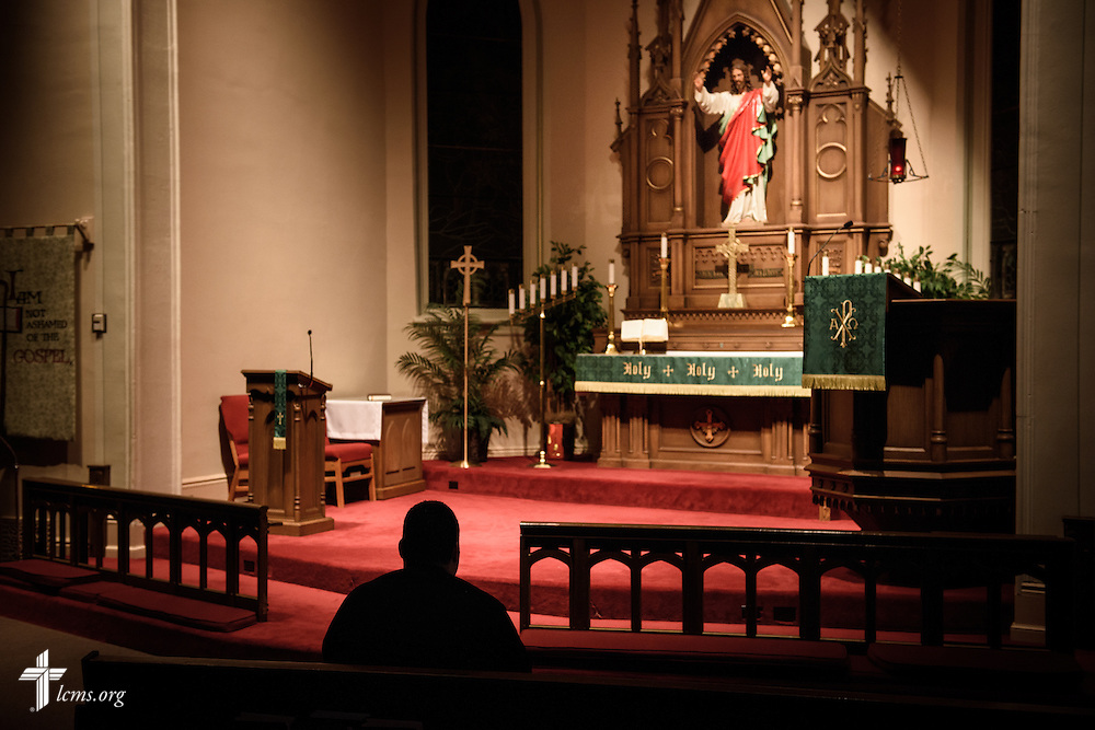 Before the beginning of their day, Vicar David Blas, missionary-at-large at LCMS Sheboygan County Hispanic Outreach and St. John's Lutheran Church of Plymouth, Wis., prays with his wife Maria (not pictured) on Thursday, Jan. 28, 2016, at the church in Plymouth. LCMS Communications/Erik M. Lunsford