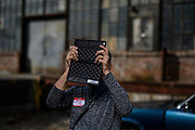 Baltimore, Maryland - October 07, 2017: ASMP Baltimore member Greg Pease documents the instruction with his iPad during the ASMP Baltimore: Assisting 101 workshop  at the Hoopers Mill Studios in Baltimore, Maryland, Saturday, Oct. 7, 2017.<br /> <br /> <br /> CREDIT: Matt Roth